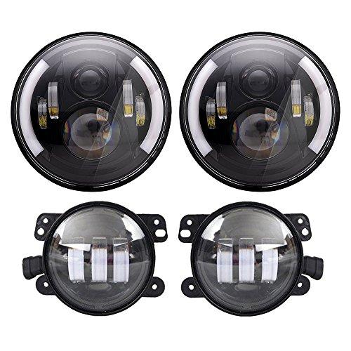 4' Fog Lights (DOT Approved 7'' Black Daymaker LED Headlights + 4 '' LED Fog Lights for Jeep Wrangler 97-2017 JK TJ LJ)