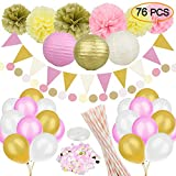 76 Pcs Gold Pink Party Decorations Kit SIMPZIA Party Supplies Including Paper Pom Poms,Tissue Lanterns,Garland,Party Balloons, Straws, Party Flakes for Birthday Party, Baby Shower,Engagement,Wedding