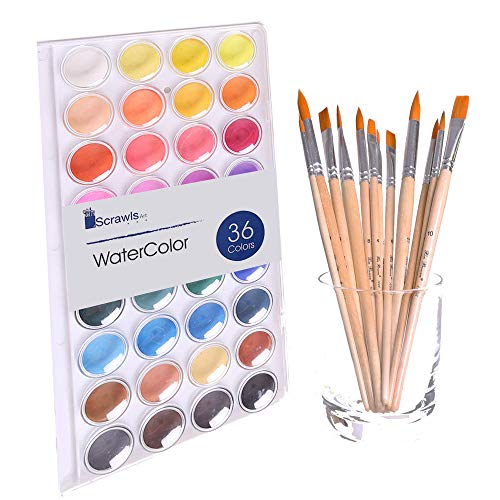 Water Cake - Watercolor Cake Set, 36 Watercolor Paint Set and 12 Paint Brushes. This Watercolors Set are Great for Children / kids and beginner artists. The perfect brushes and water color pan set.