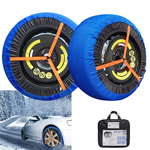 AGOOL Snow Sock Traction Longer Life Car Tire Traction Cover Socks Tire Chain Alternative Anti Slip Winter Traction Aid Snow/Ice/Slush Antiskid for Car Truck SUV (46)
