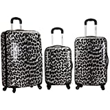 Black White Cheetah Theme Rolling Upright Spinner Wheeling Suitcase 3-Piece Set, African Leopard Themed, Exotic Safari Jungle Zoo Wild Animal Print, Travel Luggage with Wheels, Fashionable, For Unisex