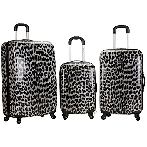 Black White Cheetah Theme Rolling Upright Spinner Wheeling Suitcase 3-Piece Set, African Leopard Themed, Exotic Safari Jungle Zoo Wild Animal Print, Travel Luggage with Wheels, Fashionable, For Unisex by S & E