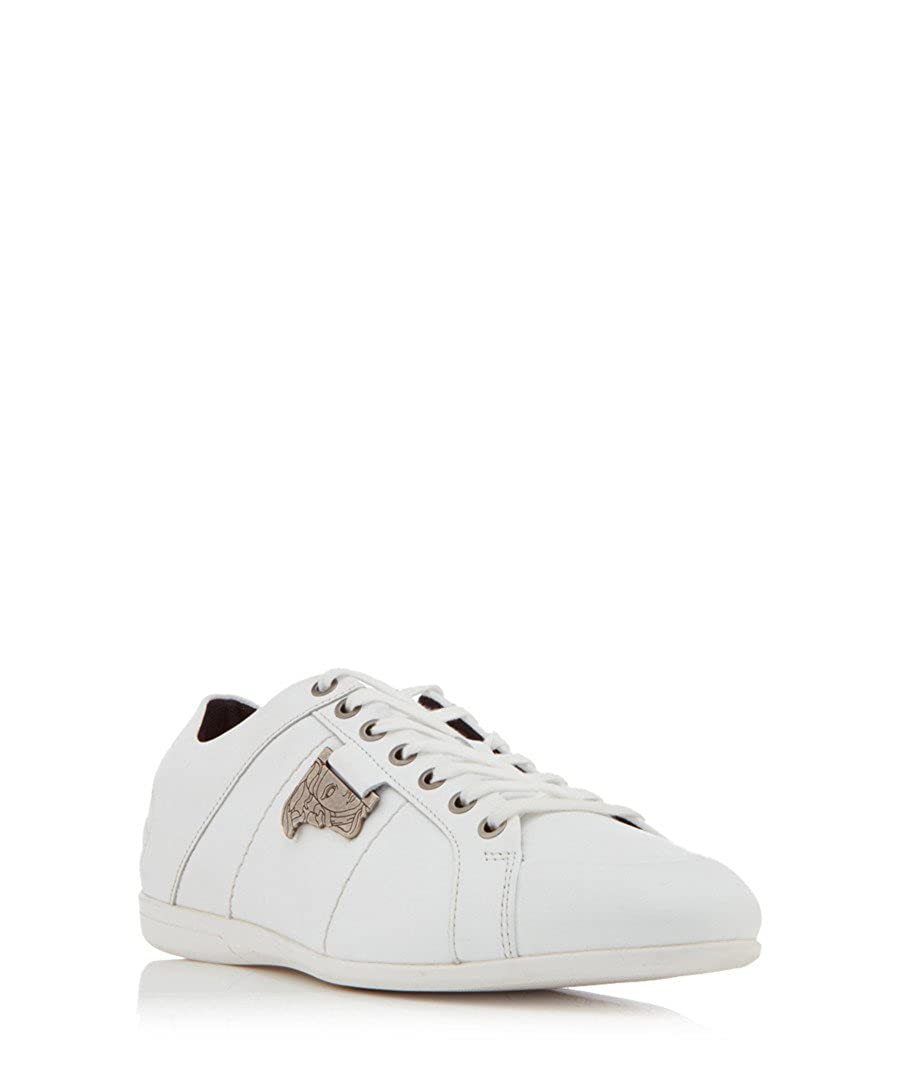8c2191fefaba4 Amazon.com: Versace Collection Men's White Leather Plague Sneakers ...