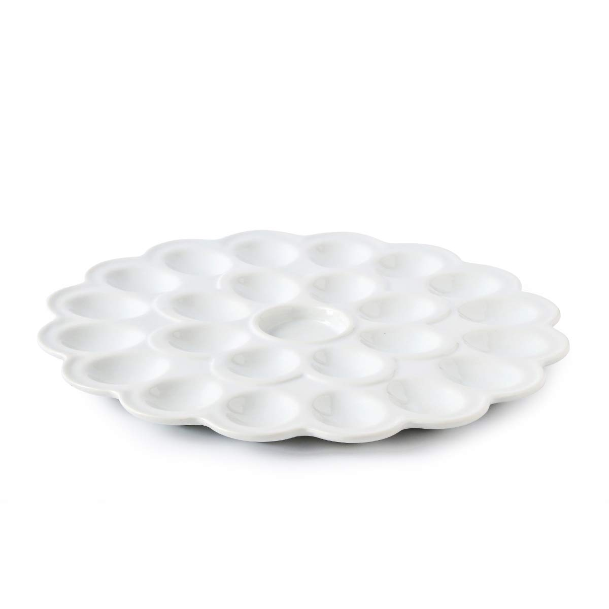 13.5-inch Porcelain Deviled Egg Tray/Dish White Ceramic Egg Platter with 25-Compartment