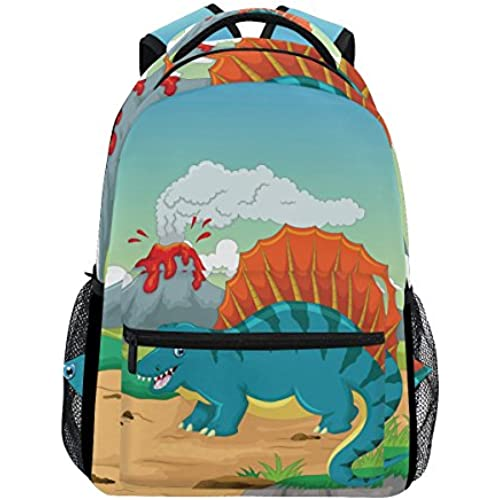 Fashion Water Resistant Laptop Backpack,Dinosaur Cartoon with Volcano Background Shoulder Schoolbag Computer Bag Bookbags for Elementary School Kids Boys Girls,Travel Bag,14 Inch Laptop Sleeve