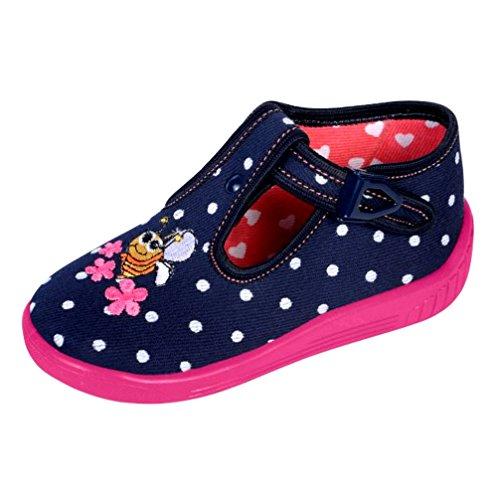 Babyschuhe Hausschuhe Laufschuhe Ballerina mit Clip Verschluss Biene dunkelblau polkadot (25)