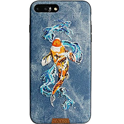 MayAi iphone 7 Case, iphone 6s Case, iphone 6 Case, Embroidered 3D Case Cover Leaping Fish for Apple, Magnetic Function, Premium Bumper Protection TPU Case, Anti-scratch PC +Cowboy cloth (Denim - Leaping Fish