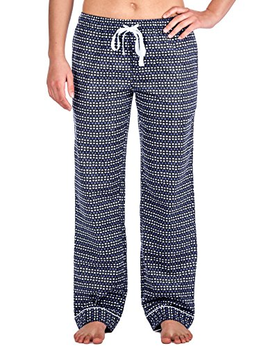 Noble Mount Womens Cotton Flannel Lounge Pants - Hearts Blue - Large