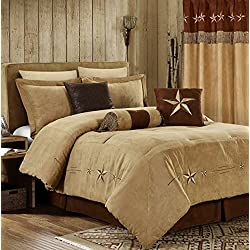 "Chezmoi Collection 7 Pieces Western Star Embroidery Design Microsuede Bedding Oversized Comforter Set (Queen 92"" x 96"", Coffee)"