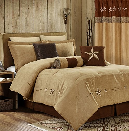 Chezmoi Collection 7 Pieces Western Star Embroidery Design Microsuede Bedding Oversized Comforter Set (California King 108