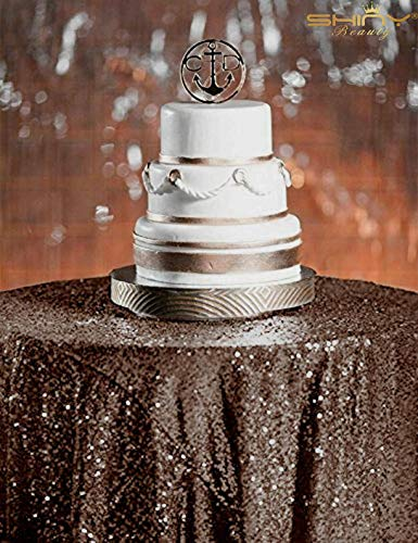 Sequin Tablecloth Round 60-Inch Chocolate Table Cover for Wedding Party Cake Dessert Table Exhibition Events P0617