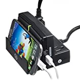 Yubi Power Desktop Power Charging Station - Mobile Device Holder - With 2 USB Ports and 3 AC Surge Protected Outlets