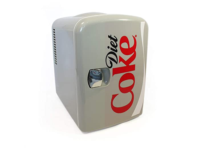 Diet Coke 4 Liter/6 Can Portable Fridge/Mini Cooler for Food, Beverages, Skincare - Use at Home, Office, Dorm, Car, Boat - AC & DC Plugs Included