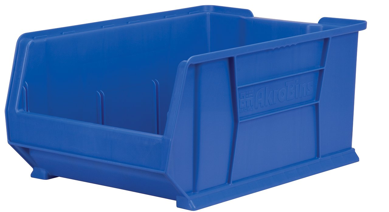 Akro-Mils 30289 Super Size Plastic Stacking Storage Akro Bin, 24-Inch D by 18-Inch W by 12-Inch H, Blue