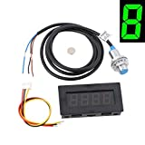 LYWS 4 Digital Green LED Tachometer RPM Speed Meter+NPN Hall Proximity Switch Sensor w/ Black Shell