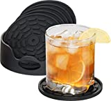 NP Highly Absorbent Silicone Drink Coasters Set of 6 (Black) with Holder- Large Size 4.3 inch- That Fits All Of Your Mugs and Glasses- Deep Tray- Good Grip Bar Coasters- Easy To Clean