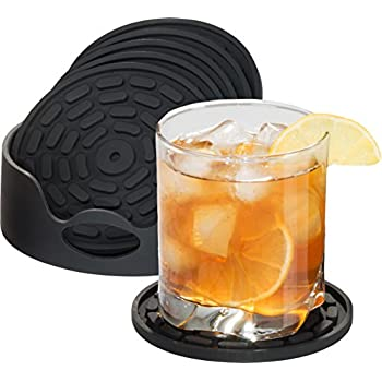 this item np highly absorbent silicone drink coasters set of 6 black with holder large size 43 inch that fits all of your mugs and glasses deep tray - Drink Coasters