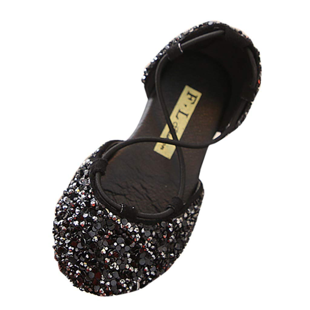 Shusuen Girls Cute Rhinestone Ballet Ballerina Flats Baby Sandals Black