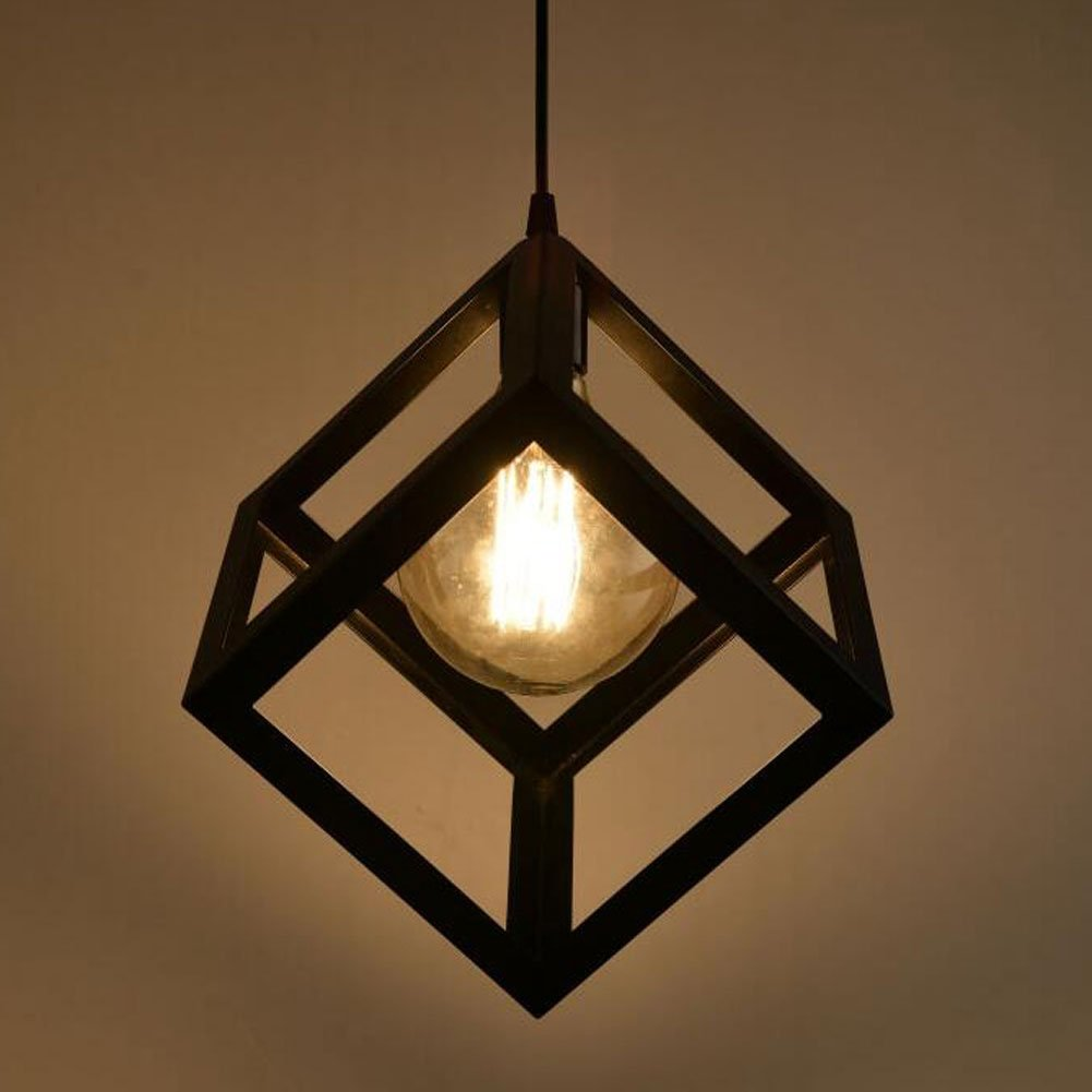 American Village Loft E27 Square Iron Chandelier Pendant Lamp ...