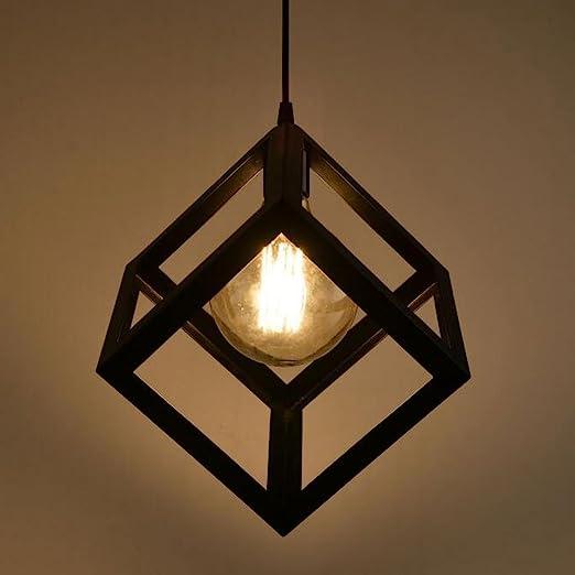 Metálicas Lampara Rústica en Forma de Cubo, Negro