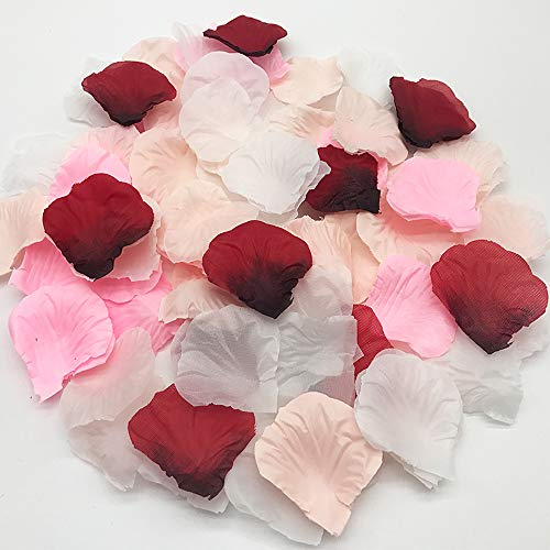 JEMONG 4000Pcs Assorted Mixed Silk Rose Petals Artificial Flower Petals for Weddings, Events and Decorating
