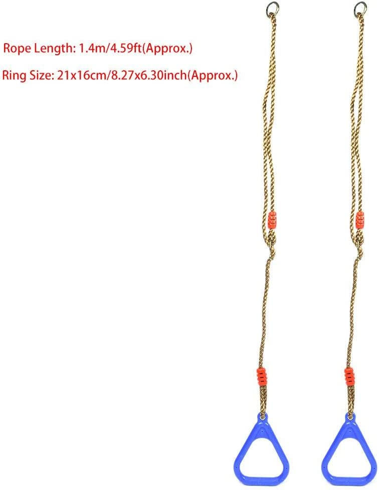 Blue Multi-Use Exercise Gymnastics Rings A Pair of Adjustable Plastic Children Swing Gym Fitness Exercise Sports Hanging Ring with Rope GLOGLOW Colorful Swing Gymnastic Rings