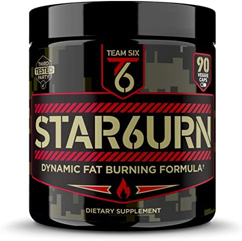 T6 STAR6URN Thermogenic Fat Burner, Weight Loss Pills for Men and Women with Chromium, Pure Forskolin and 7 More Shredding Diet Ingredients – Appetite Suppressant, 30 Day Supply