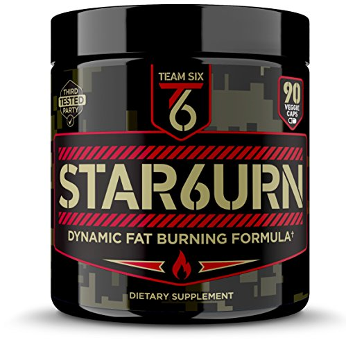 T6 STAR6URN – Thermogenic Fat Burner, Weight Loss Pills for Men and Women with Chromium, Pure Forskolin and 7 More Shredding Diet Ingredients - Appetite Suppressant, 30 Day Supply by Team Six Supplements