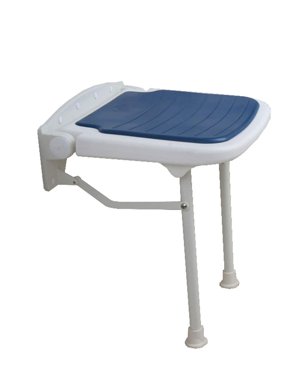 Kugga Folding Bath Seat Shower Bench  Wall Mounted, Height of 5.7-6ft (Color : Blue)