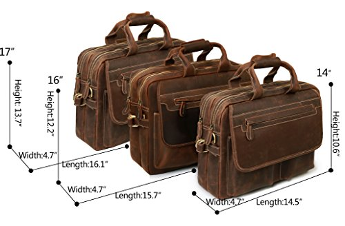 8da3a3d961f7 Iswee Mens Full Grain Genuine Leather Messenger Bag 14  16  17 ...