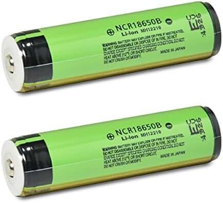 2 Panasonic NCR18650B 18650 3400mAh 3.7v Protected Button Top Batteries