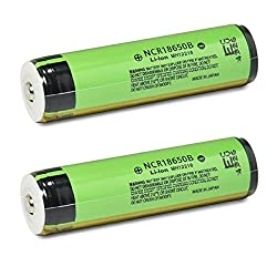 2 Panasonic NCR18650B 18650 3400mAh 3.7v Protected Button Top Batteries
