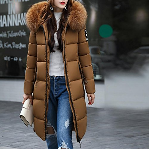 Outwear Thicker Princer Down Coffee Windbreaker Women Pockets Long Parka Jacket Warm Sleeve Elegant Hooded 17Zaxqngw4