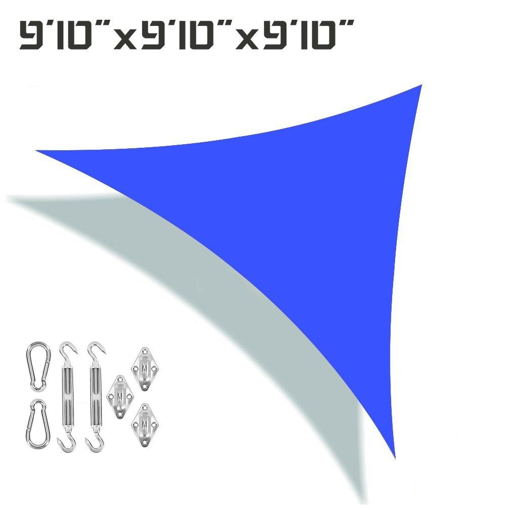 Unicool Deluxe Triangle 9 10 x 9 10 x 9 10 Sun Shade Sail UV Block Outdoor Patio Canopy Top Cover W Stainless Steel Hardware Kit Blue