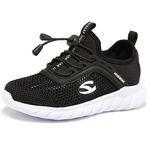 Boys Tennis Shoes Breathable Elastic Kids Running Sneakers Lightweight Comfortable(Toddler/Little Kid/Big Kid)(29, Black) - Kid Running Sneaker