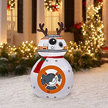 airblown inflatable bb 8 wreindeer ears and scarf md star wars - Star Wars Blow Up Christmas Decorations