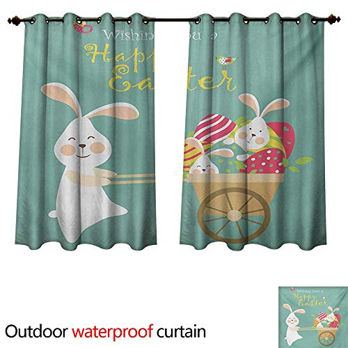 (WilliamsDecor Easter 0utdoor Curtains for Patio Waterproof Smiling Bunny with a Cart Full of Colorful Eggs and Baby Rabbits Spring Holiday W108 x L72(274cm x)