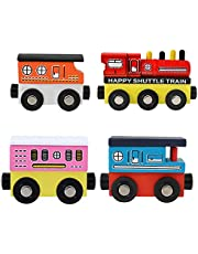 Onshine Wooden Toy Train for 3 year olds 4 PCS Wooden Train Toy for Kids Wooden Magnetic Train for Boys Girls
