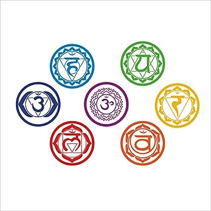 LoveQmall Vinyl Stickers Chakras (Set of 7 Pieces) -Health Meditation Yoga Meditation Aum Om Symbol Art Wall Decals Home Decoration