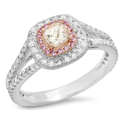 Two Tone Rose Gold Plated 14K White Gold Morganite, Pink Sapphire & Diamond Engagement Ring (Size 7) - Pink Sapphire Two Tone Ring