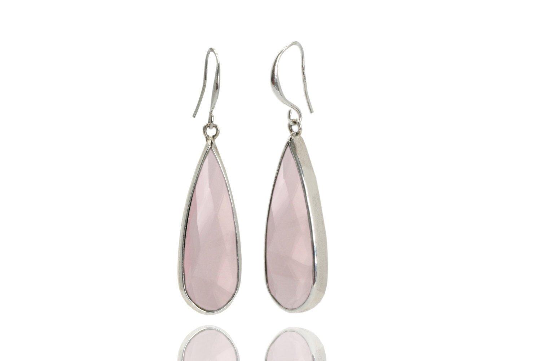 Rose quartz earrings, pink earrings, silver earrings, silver gemstone earrings, birthstone earrings, love earrings