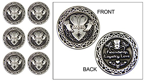 Set of 6 Claddagh Pocket Tokens in an Organza Pouch
