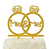LOVENJOY Gift Box Pack Lesbian Mrs and Mrs in Diamond Rings Same Sex Monogram Wedding Engagement Cake Topper (5.3-inch, Gold Glitter)