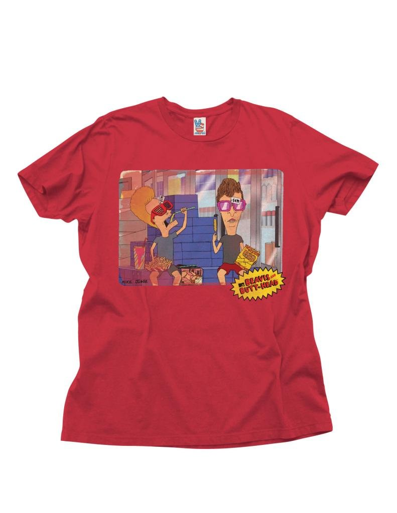 Junk Food Beavis and Butthead with Glasses Adult Red T-Shirt (Adult Large)