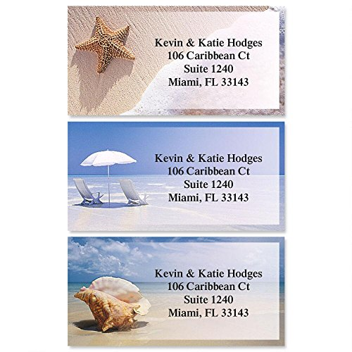 On The Shore Self-Adhesive, Flat-Sheet Border Address Labels by Colorful Images (3 Designs), Count 144