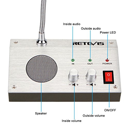 Retevis RT-9908 3W/3W Anti-interference Bank Counter Window Intercom System Dual-Way Intercommunication Microphone(Silver,1 Pack) by Retevis (Image #2)