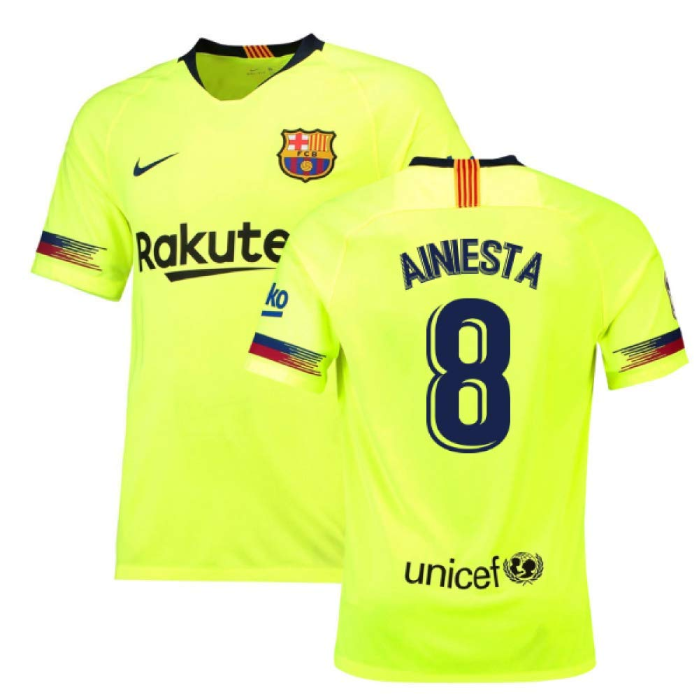 2018-19 Barcelona Away Football Soccer T-Shirt Trikot (Andres Iniesta 8) - Kids