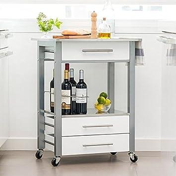 rmi-onlineshop Carrito de Cocina con Ruedas (Acero Inoxidable) 60 x 83 x 50 cm: Amazon.es: Hogar