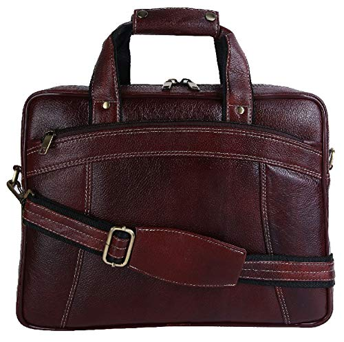 (HiLEDER 100% Pure Genuine Leather 15 inch Briefcase Laptop Messenger Satchel Office Bag, Dark Brown)
