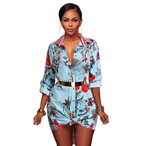 Women's Vintage Stretch Long Sleeve Floral Print Dashiki Button Down Shirt Dress Tunic Top Blouse Light Blue, (Floral Vintage Sport Shirt)
